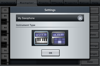 Music Studio App User Instruments